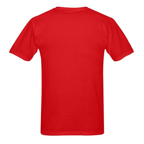 McFan Logo - word - Black on red Sunny Men's T-shirt (USA Size) (Model T02)
