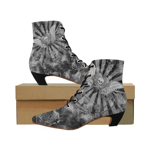 40a187171 Angel Skull Goth Design Women's Pointed Toe Low Heel Booties (Model 052) |  ID: D3087488