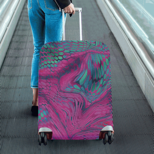 """asia dragon reptile scales rainbow colored pattern camouflage in purple, bluish green and blue Luggage Cover/Large 26""""-28"""""""
