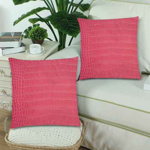 """Red Snake Skin Custom Zippered Pillow Cases 18""""x 18"""" (Twin Sides) (Set of 2)"""
