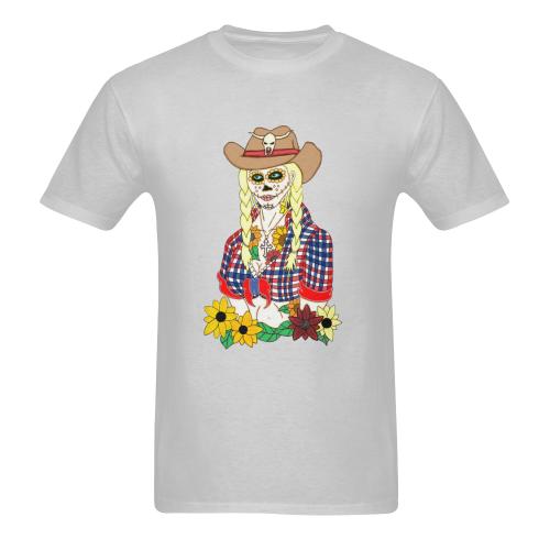 Cowgirl Sugar Skull Grey Men's Heavy Cotton T-Shirt - 5000 (Plus-size)