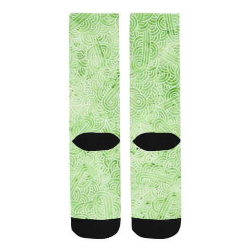 Light green and white swirls doodles Trouser Socks (For Men)