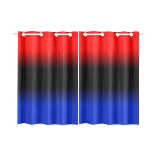 """Red, Black and Blue Gradient Kitchen Curtain 26"""" X 39"""" (Two Piece)"""