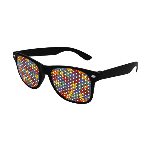 Gecko Reptiles Mosaic Bauhaus Pattern Custom Sunglasses (Perforated Lenses)