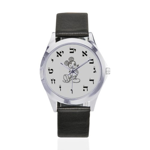 projet bar mitzva 6 Unisex Silver-Tone Round Leather Watch (Model 216)