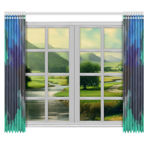 "Peacock Abstract Art 4938 Window Curtain 50""x84""(Two Piece)"