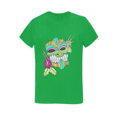 Tropical Tiki Mask Irish Green Women's Heavy Cotton Short Sleeve T-Shirt - 5000L