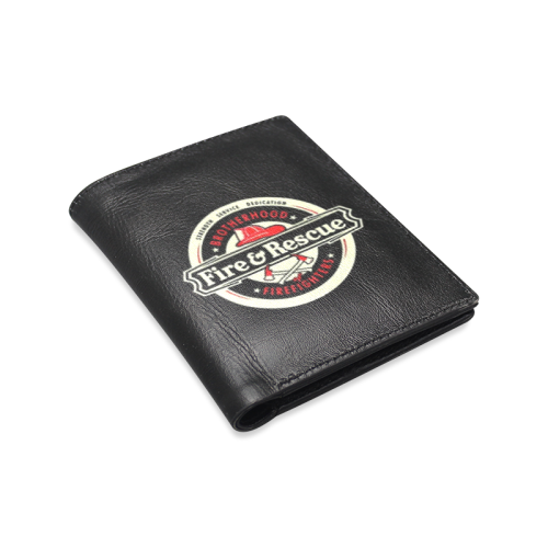 Brotherhood Firefighters Fire And Rescue Men's Leather Wallet (Model 1612)