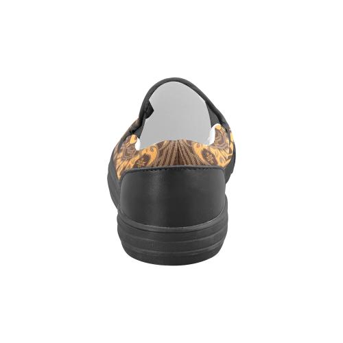Sun Bear Orange/Brown Men's Slip-on Canvas Shoes (Model 019)