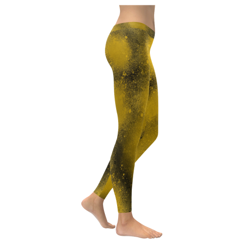 Black and Yellow Paintballs 3574 Low Rise Leggings (Invisible Stitch) (Model L05)