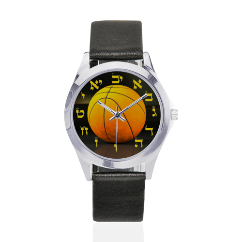 basketball bar mitzva Unisex Silver-Tone Round Leather Watch (Model 216)