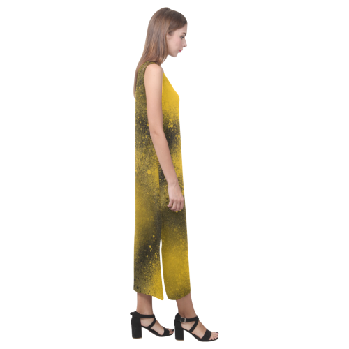 Black and Yellow Paintballs 3574 Phaedra Sleeveless Open Fork Long Dress (Model D08)