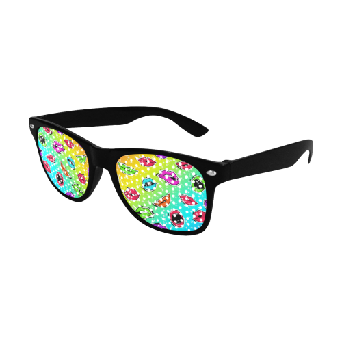 Women Sexy Hot Lips Comic - Pop Art Pattern 1 Custom Sunglasses (Perforated Lenses)