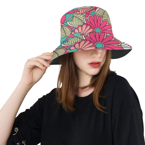 2d5c732c62e02 Groovy Pink and Turquoise Retro Flowers All Over Print Bucket Hat ...