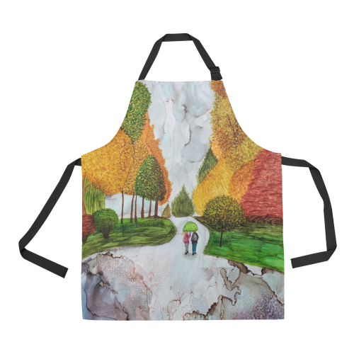 A Rainy Walk to the Bus All Over Print Apron