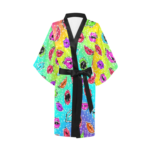 Women Sexy Hot Lips Comic - Pop Art Pattern 1 Kimono Robe