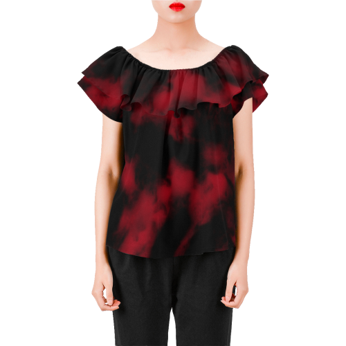 3289227c1b2b8a ... Volcanic Bottom red black abstract Women s Off Shoulder Blouse