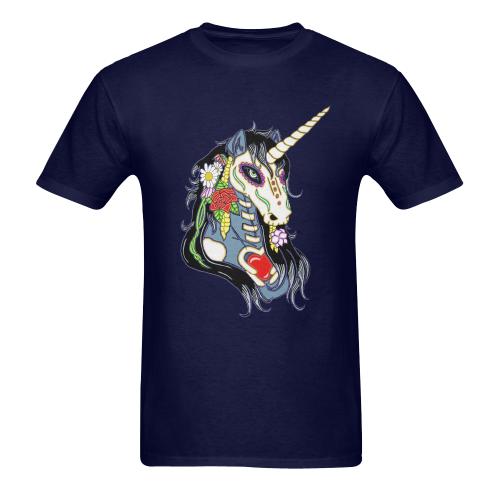 Spring Flower Unicorn Skull Navy Blue Men's Heavy Cotton T-Shirt - 5000