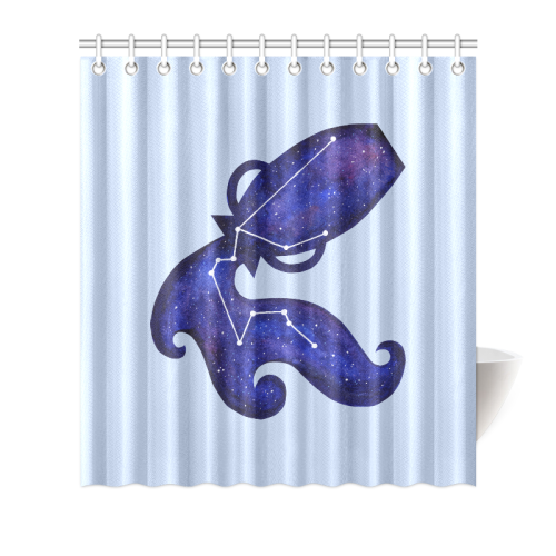 Astrological Sign Aquarius Constellation Shower Curtain 66x72