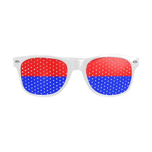 Only two Colors: Fire Red - Royal Blue Custom Sunglasses (Perforated Lenses)