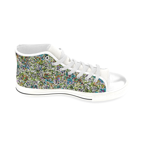 Multicolored Abstract Pattern Men's Classic High Top Canvas Shoes (Model 017)