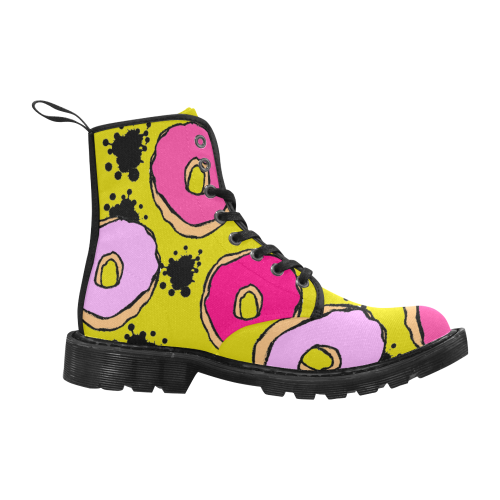 Graffiti Donut Martin Boots for Women (Black) (Model 1203H)