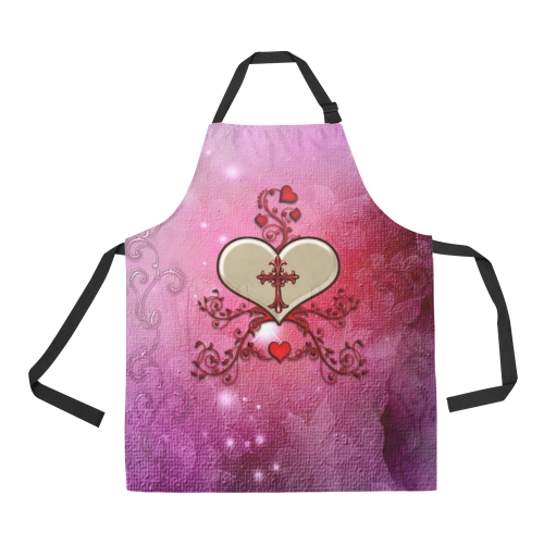 Wonderful heart with cross All Over Print Apron