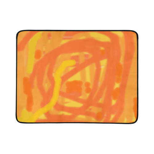 Orange and Yellow Scribbles Portable & Foldable Mat 60''x78''