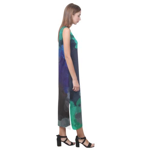 Peacock Abstract Art 4938 Phaedra Sleeveless Open Fork Long Dress (Model D08)