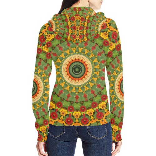 Garden Mandala All Over Print Full Zip Hoodie for Women (Model H14)