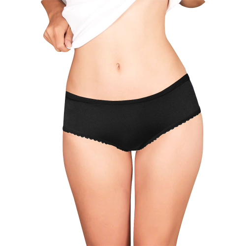 You Wish Back White And Black Women's All Over Print Girl Briefs (Model L14)