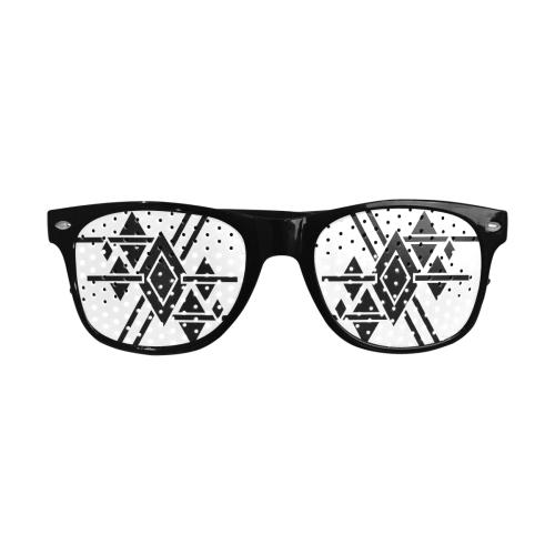 Black Geometric Art Stripes Triangles Rhombuses Custom Sunglasses (Perforated Lenses)