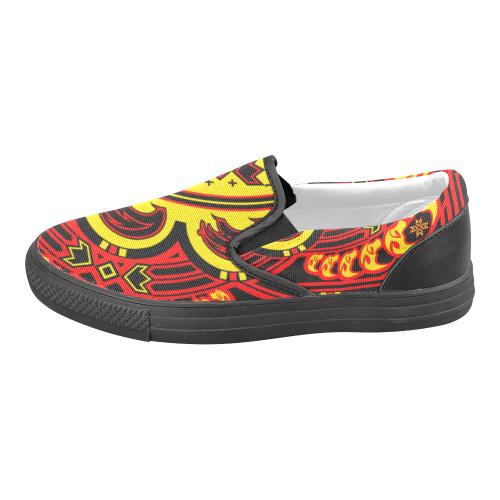 Sun Bear Yellow/Red Men's Slip-on Canvas Shoes (Model 019)