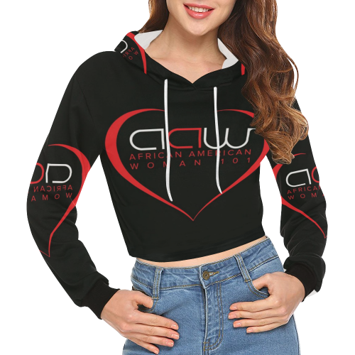 1bcac78a03cf8 AAW101 Black Crop Top Sweater All Over Print Crop Hoodie for Women (Model  H22)