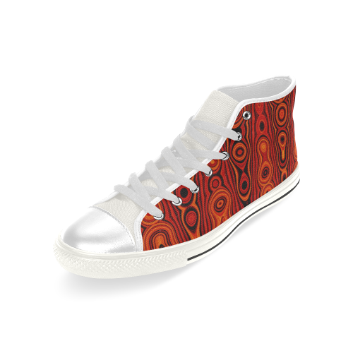 Brown Abstract Pattern Men's Classic High Top Canvas Shoes (Model 017)