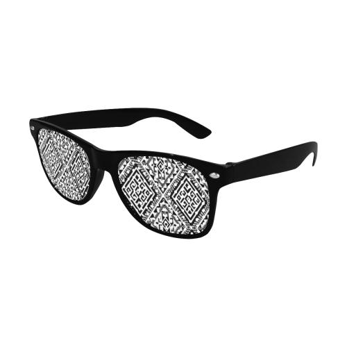 Geometric Folklore Diamonds Ethno Pattern black Custom Sunglasses (Perforated Lenses)