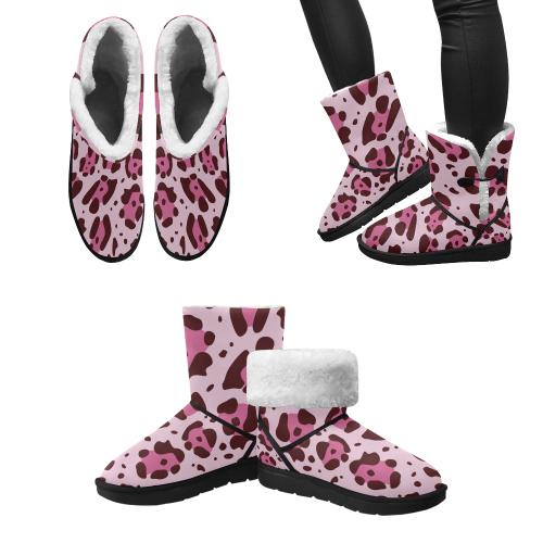 pattern Exotic pink Splash Shoes Unisex Single Button Snow Boots (Model 051)