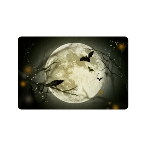 """A Full Moon Night With Bats And Crow Doormat 23.6""""x15.7"""""""