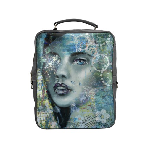 0055cd42afab bohem shabby chic beautiful woman girl face people art mixed media  illustration Square Backpack (Model 1618)
