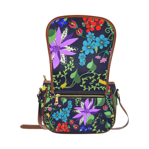 purple flower purse Saddle Bag/Small (Model 1649) Full Customization