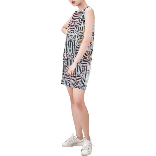 donatioo Sleeveless Round Neck Shift Dress (Model D51)
