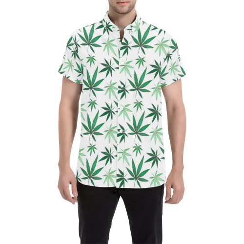 5087038a Weed Leaf 420 Pattern Button Down Men's All Over Print Short Sleeve Shirt  (Model T53) | ID: D2794700