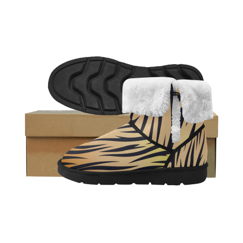 Design boots : Wild tiger gold Unisex Single Button Snow Boots (Model 051)