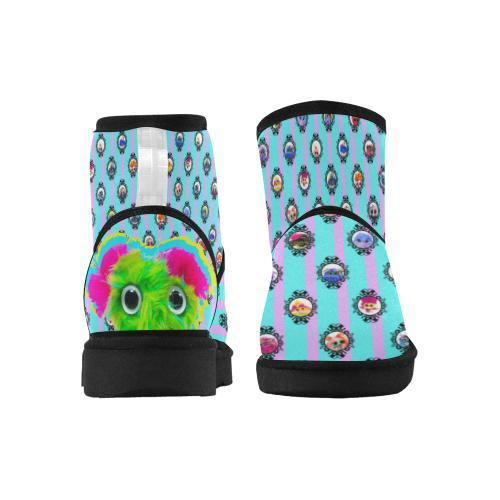 Aqua and Lilac Low Top Unisex Snow Boots (Model 049)