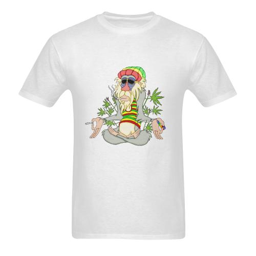 Hippie Ganja Guru White Men's Heavy Cotton T-Shirt - 5000