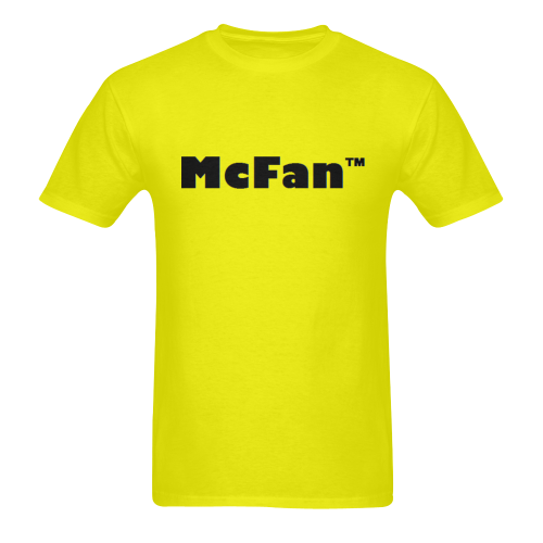 McFan Logo - word - Black on yellow Sunny Men's T-shirt (USA Size) (Model T02)