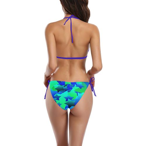 Bubble Stars Blue Buckle Front Halter Bikini Swimsuit (Model S08)