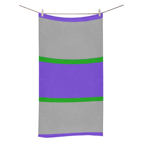 "Purple, Gray and Green Stripes Bath Towel 30""x56"""