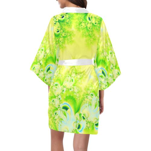 Sunny Spring Frost  Fractal Abstract Kimono Robe