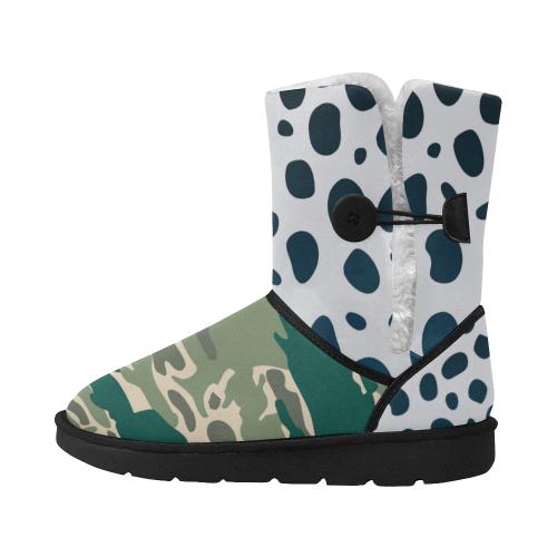 Woodland Camo Green Design boots winter Unisex Single Button Snow Boots (Model 051)